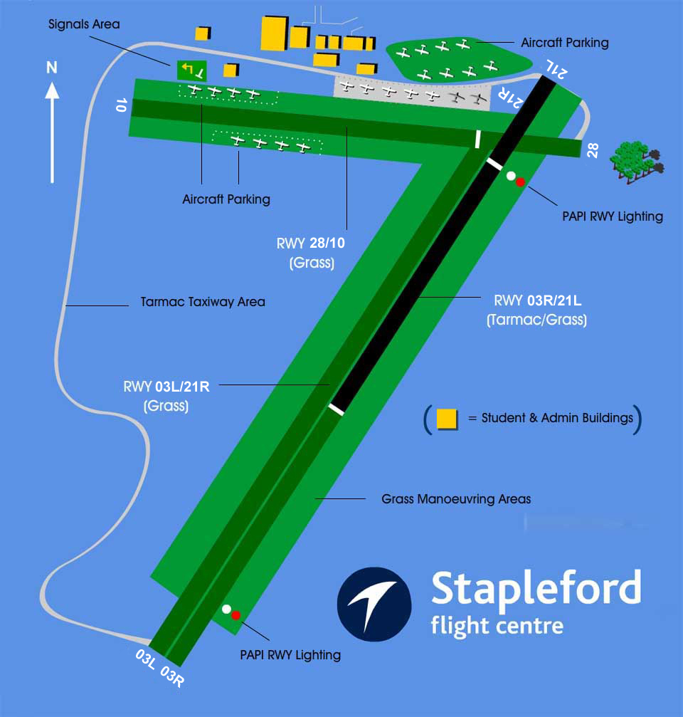 Overhead view of Stapleford Airfield and Stapleford Flight Centre's facilities